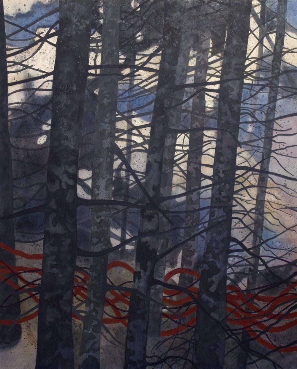 Sentiers migratoires , acrylique sur toile, 152 x 122 cm