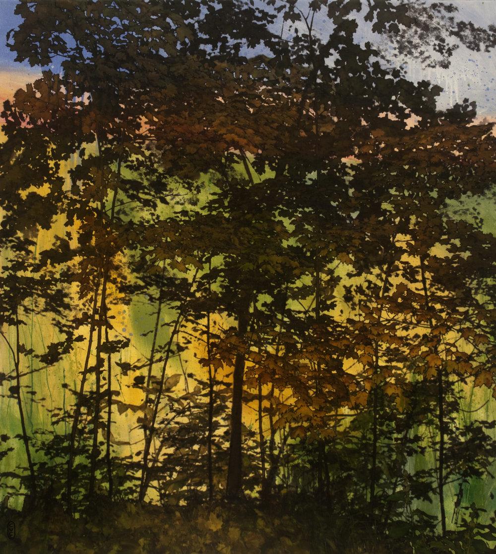 Érablière no 4  techniques mixtes sur toile  101 x 91 cm   2018