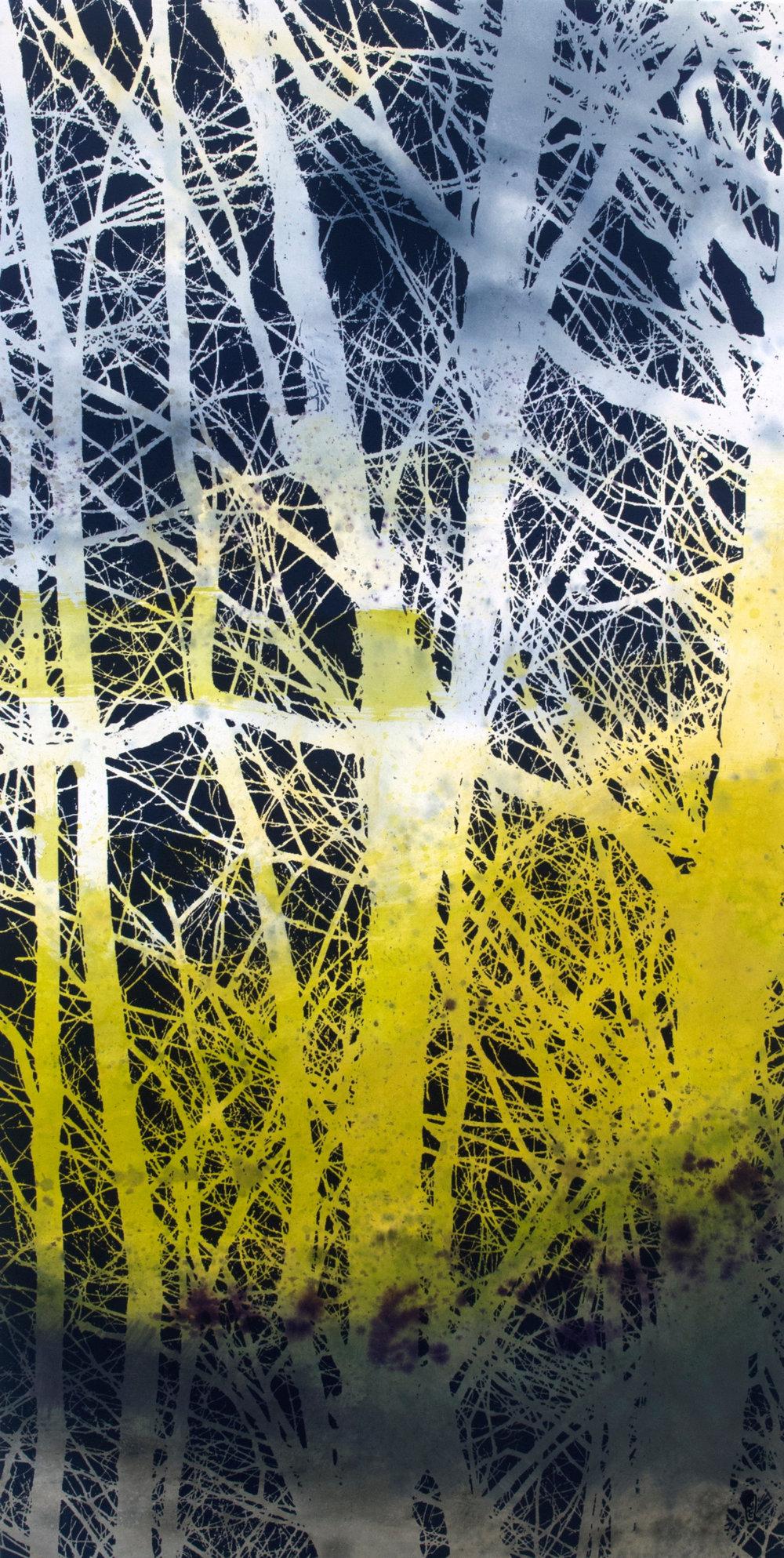 Réseau no 1  Techniques mixtes sur toile  151 x 75 cm 2018