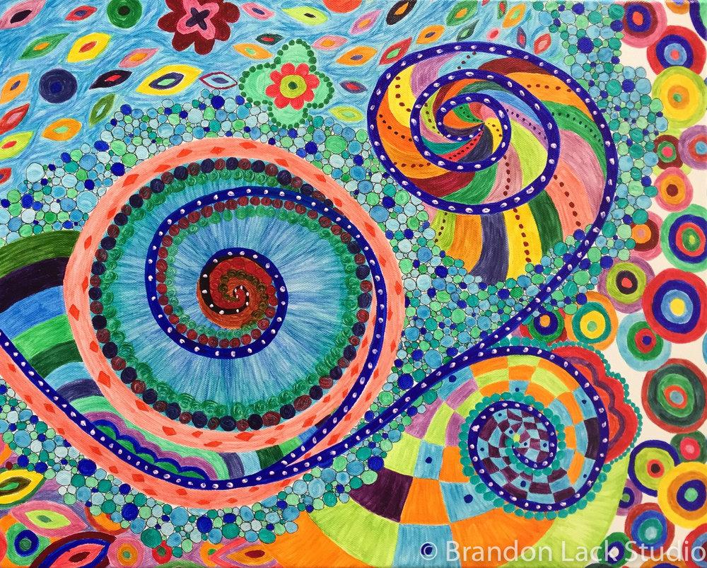 Swirly Circles  Acrylic on Canvas