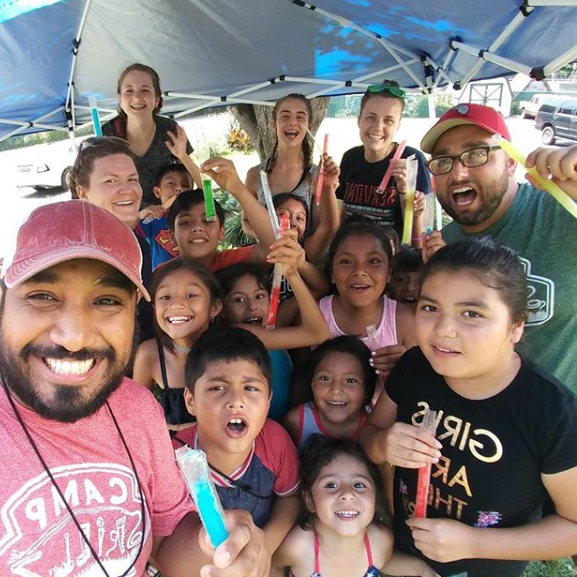 Mr. Light Shine (bottom left) with campers, coworkers and volunteers at Camp Skillz in Madison, TN. Rafa served as Site Director, coordinating edifying times of fun for children in need.