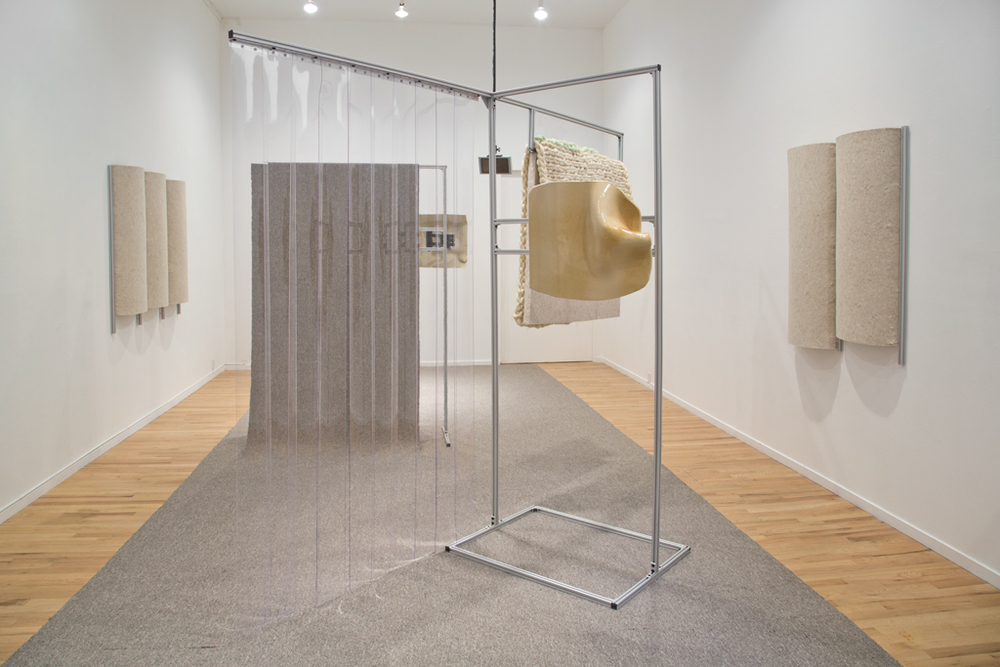 Jacqueline Kiyomi Gordon:A Space for Looking is a Space for Listening (installation view at Western Front, Vancouver, Canada), 2016. Ceramic, fabric, extruded aluminum, HSS directional speakers, software. Photo by Maegan Hill-Carroll.