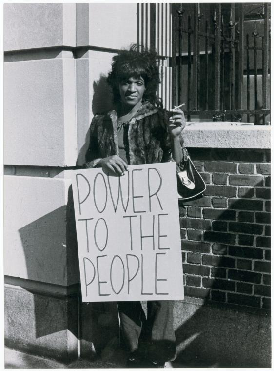 Diana Davis: Marsha P. Johnson pickets Bellevue Hospital to protest treatment of street people & gays, 2968-1975;   The New York Public Library Digital Collections  .