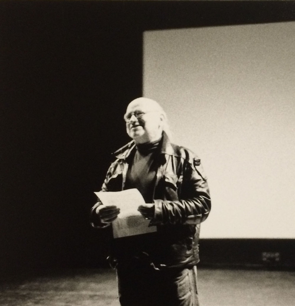 Kurt Kren during Q&A post 1998 Cinematheque screening at SFAI, courtesy of San Francisco Cinematheque.