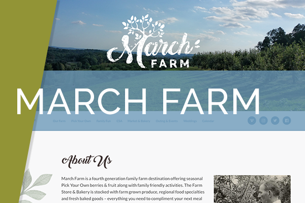 March Farm   Local Farm with great venues gets rebranded and redesigned. March Farm is a great family farm that was amazing to work with and open to new ideas.