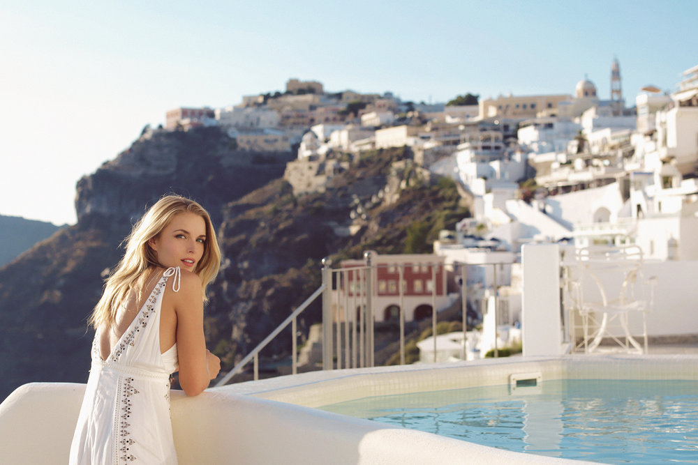 Tracy Kristine in Santorini Greece by Naomi Christie