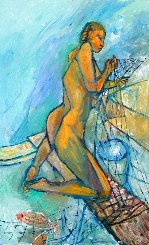 Woman Pulling Nets