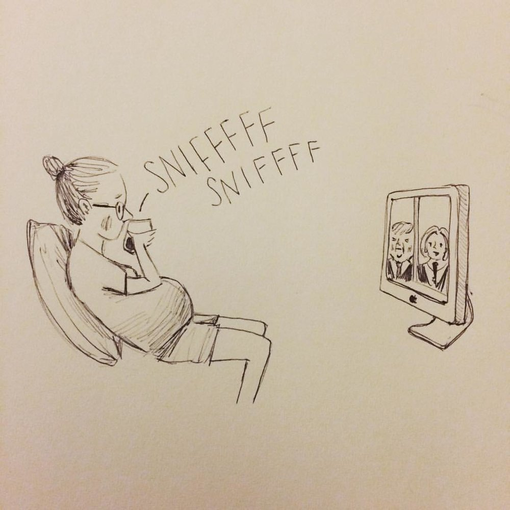 Oct. 9: Sniffing wine, it's the best I can do right now. #dirtbabycomics #inktober