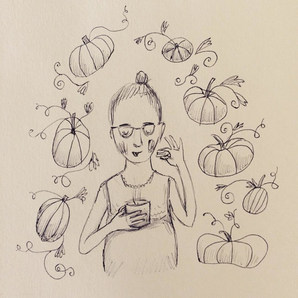 Oct. 11: A much better day thanks to Jesse for taking Calvin outside for a bit and to Trader Joe's for providing the chai tea and pumpkin Joe Joes! #inktober #dirtbabycomics