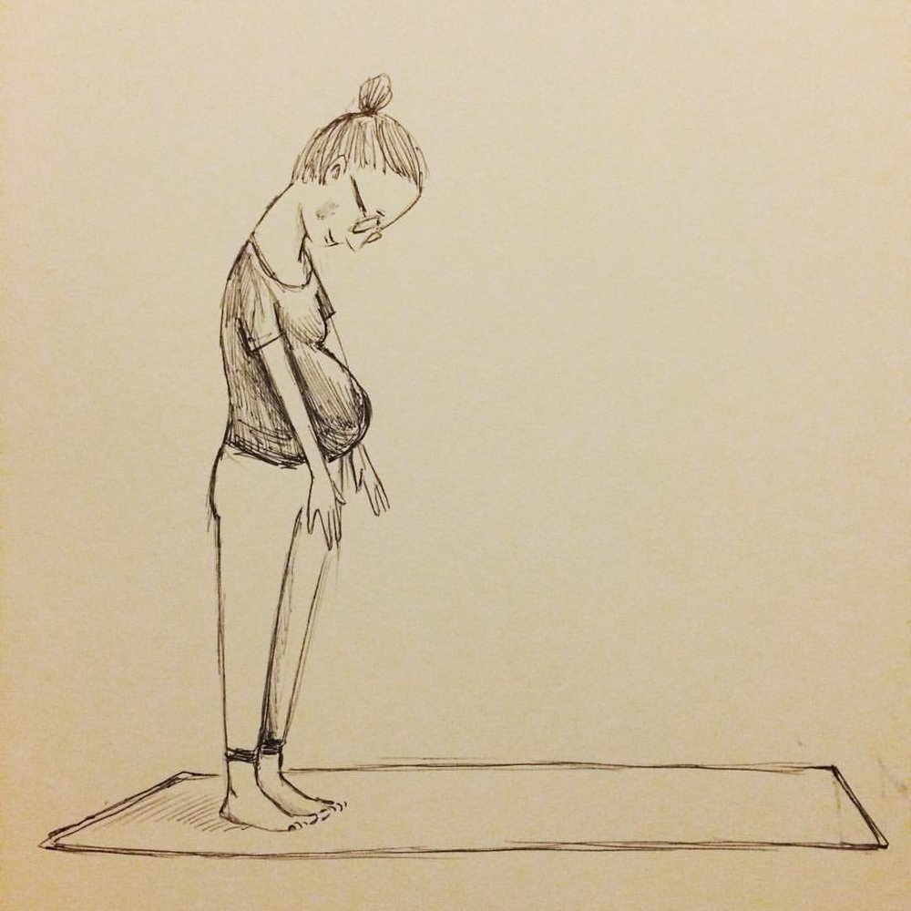 Oct. 13th: Stretching feels so good, even when this is what touching your toes looks like. #dirtbabycomics #inktober
