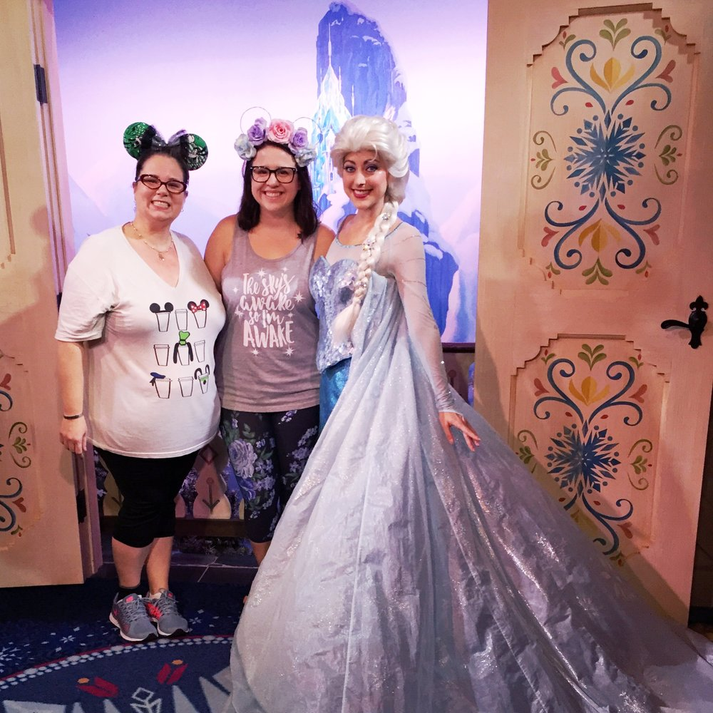 Jenn's tee is from  Happily Ever Tees  and ears are from  Be Ear Guest , my tee is from  Oh Yeah Apparel  and ears are from  The Mermaid Harp .