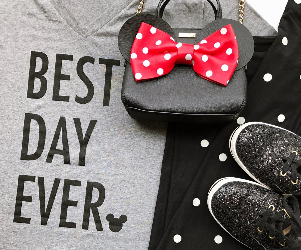 For a LATE NIGHT in Magic Kingdom I wanted to be comfy in Lularoe polka dot leggings, and yet another Best Day Ever tee from Happily Ever Tees.   My shoes are the Kate Spade Glitter Keds and the bag is the Minnie Kate Spade crossbody.