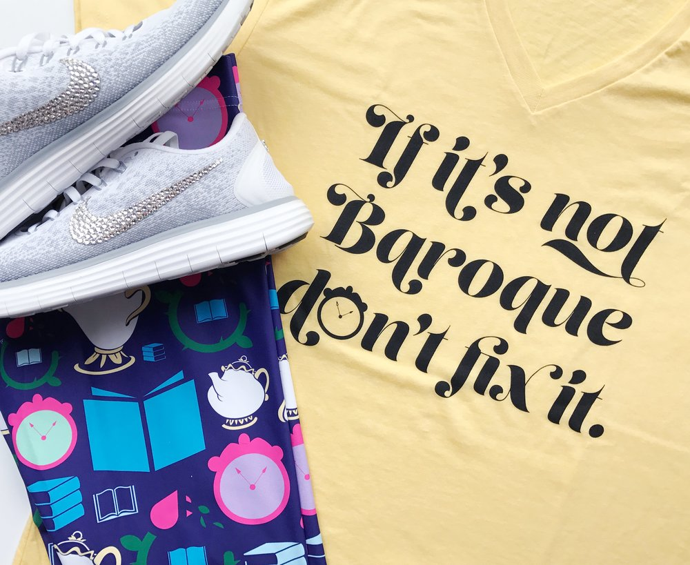 My outfit for the 5k over Princess Half Marathon Weekend was Beauty and the Beast inspired. The leggings were done as a collab with Happily Ever Tees and Pretty Little Monograms. The Baroque tee is from Happily Ever Tees and the shoes are from Bibbidi Bobbidi Bling.
