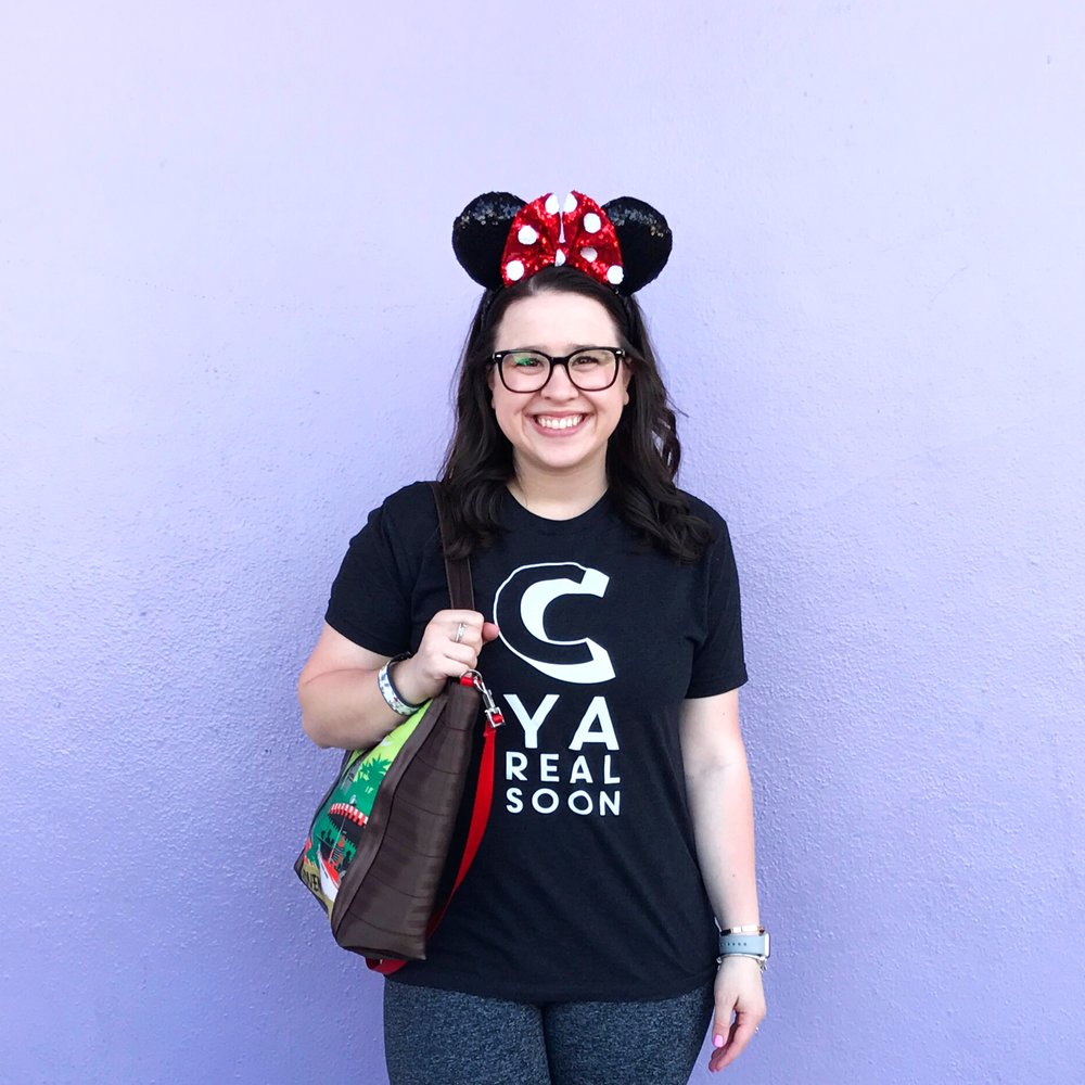 Always a classic for the last day of a trip is the C Ya Real Soon tee from  Happily Ever Tees . Paired with  Zella leggings ,  Bibbidi Bobbidi Brooke ears  and a  Harvey's tote .