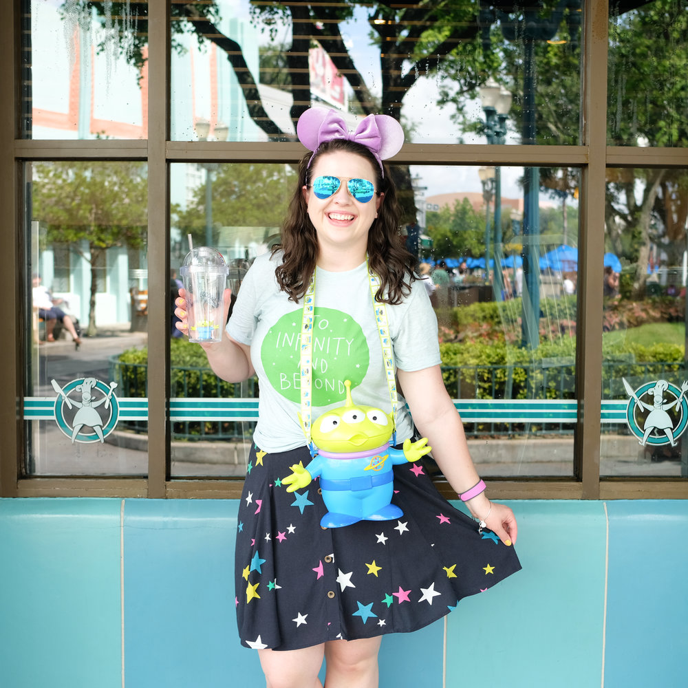 To Infinity and Beyond Tee  |  Purple Velvet Ears  |  Star Skirt  | Alien Popcorn Bucket (parks exclusive)