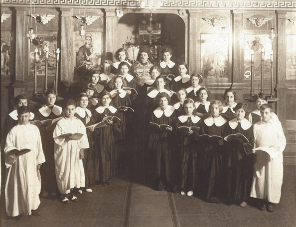 Very Rev. Fr. Joseph Pitsonis with Choir and Altar Servers - 1934
