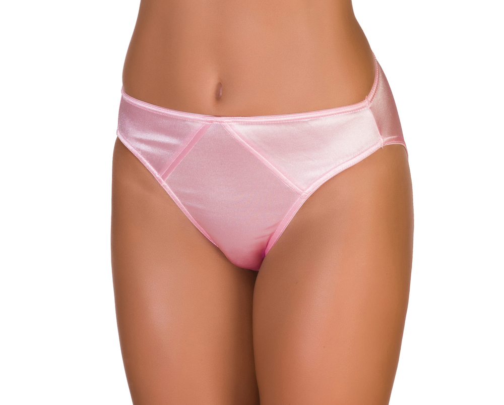 Light Pink Fancy Satin Panty Hipsters, full cut nylon spandex liquid stretch satin.