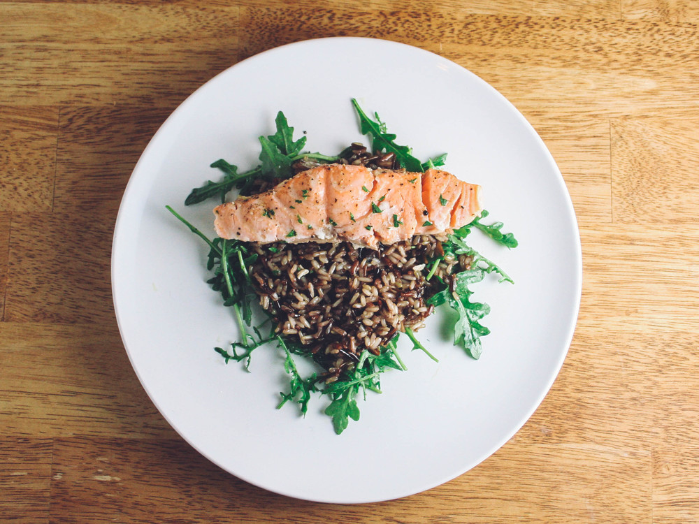 Baked Garlic Butter Salmon with Wild Rice and Arugula
