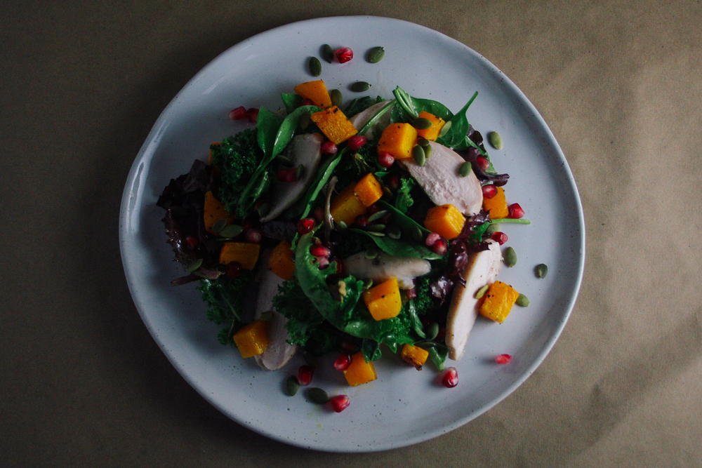 Fall Salad with Butternut Squash, Pomegranate, and Pumpkin Seeds