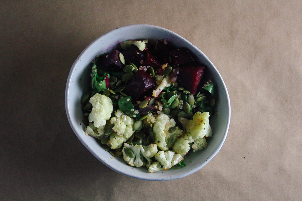 Quinoa, beets, pepitas, cauliflower, greens, vegan, vegetarian
