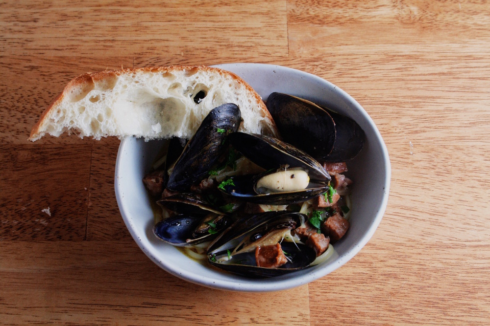 Linguine, mussels, chorizo, beer broth
