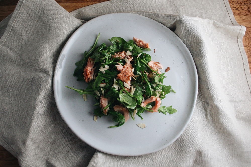 salmon, arugula, almonds, april bloomfield