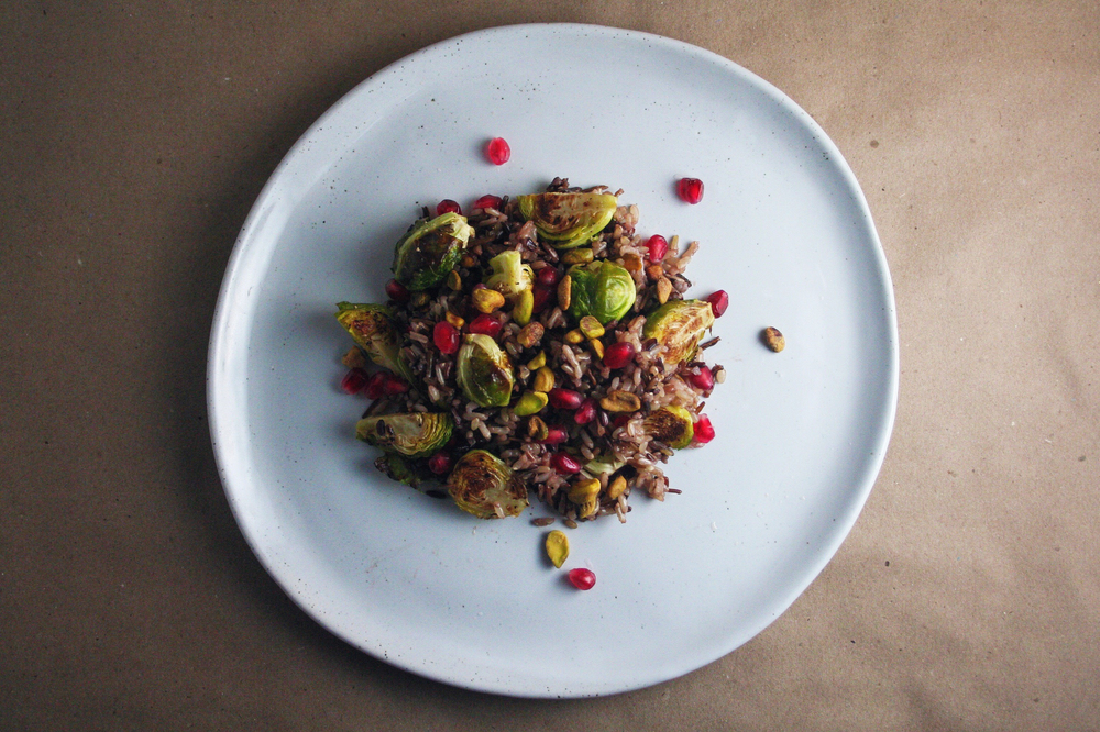 Winter Side Dish: wild rice with brussels sprouts, pomegranate, & pistachios