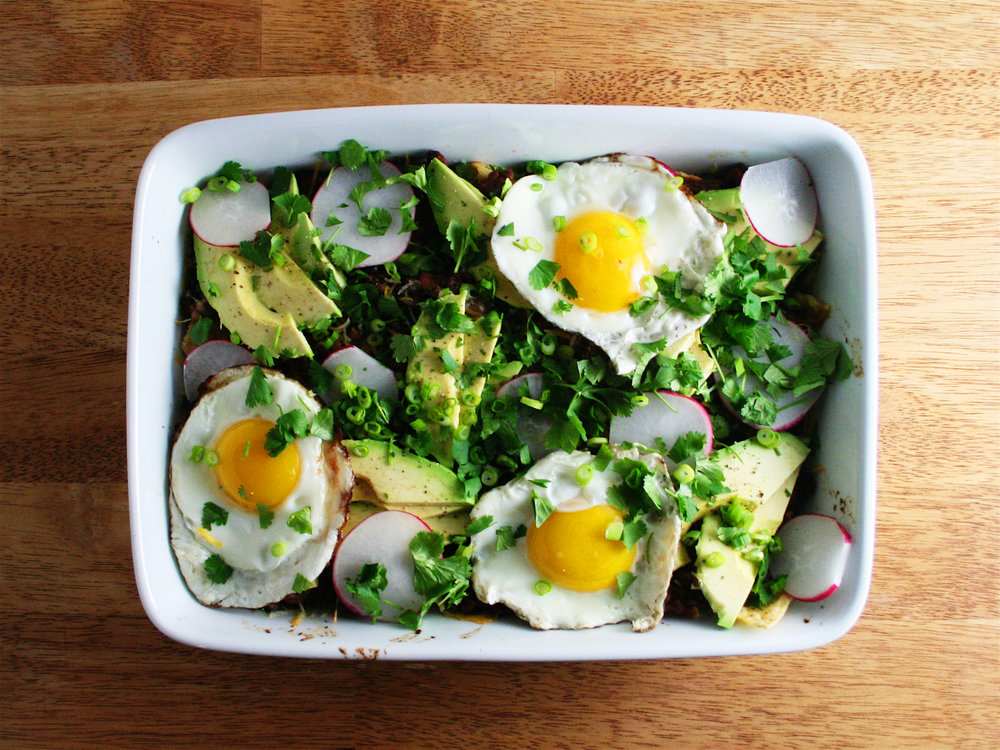 Salsa Verde Chilaquiles for a Crowd - The City Skillet