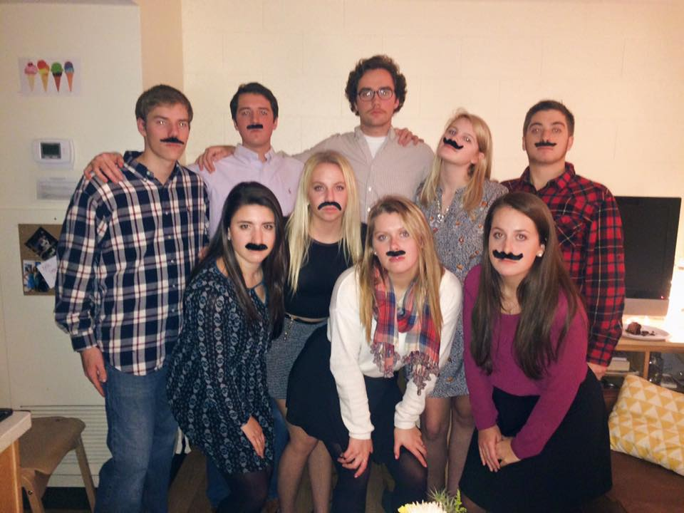 """Here's a picture of some of my favorite people celebrating """"Friendsgiving"""" which was one of my favorite nights of the semester."""
