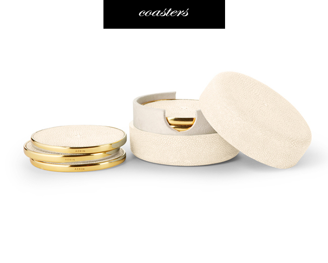 Aerin Shagreen and Brass Coasters