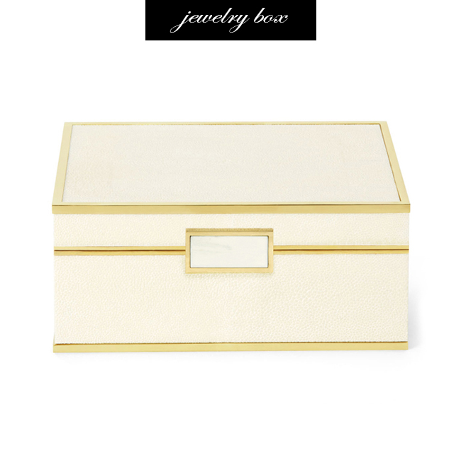 Aerin Shagreen and Brass Jewelry Box