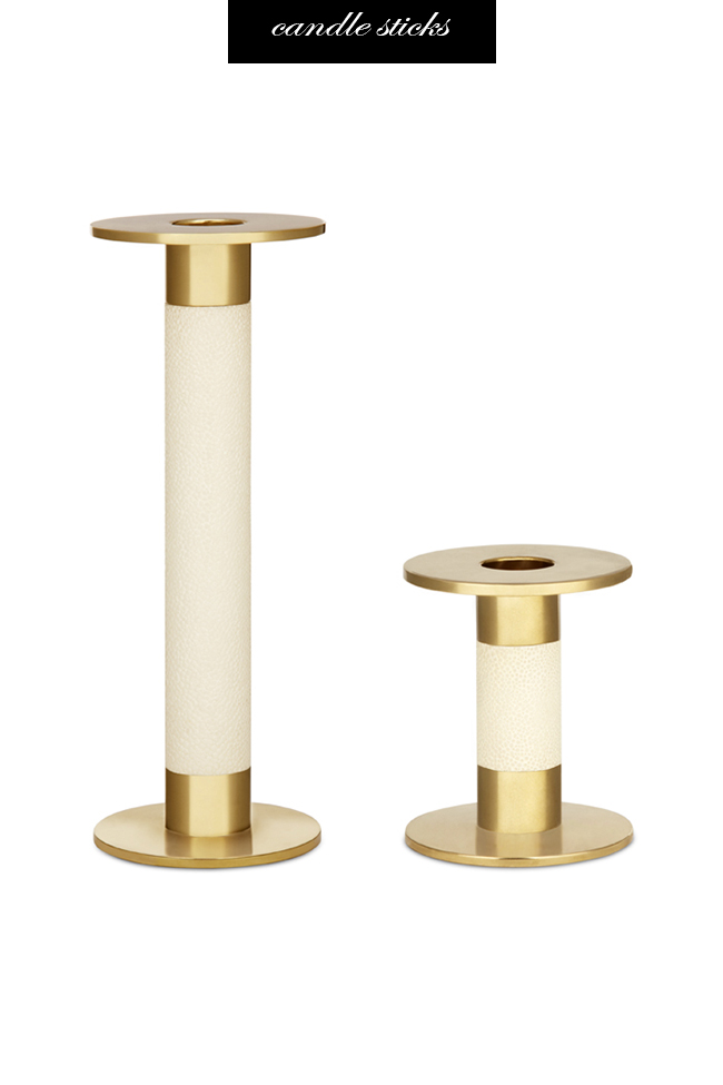 Aerin Shagreen and Brass Candle Sticks