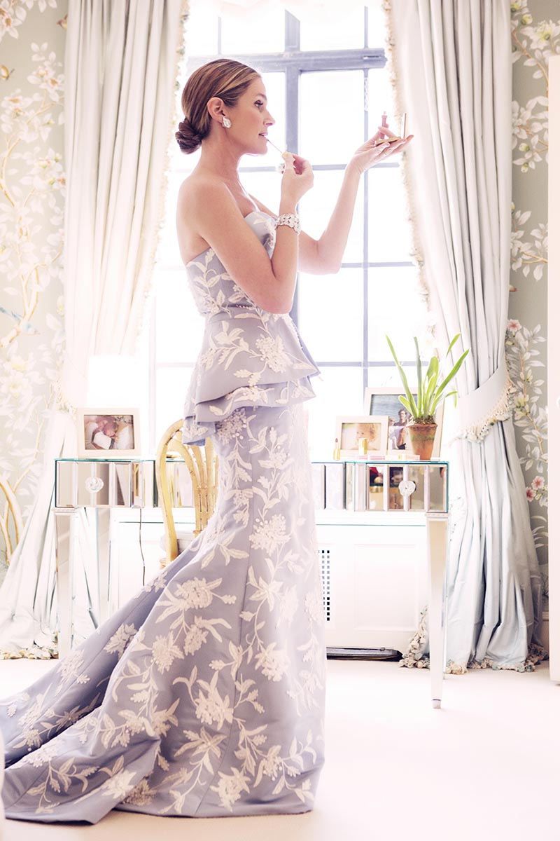 Aerin Lauder getting ready for the Met Gala via Vogue.com