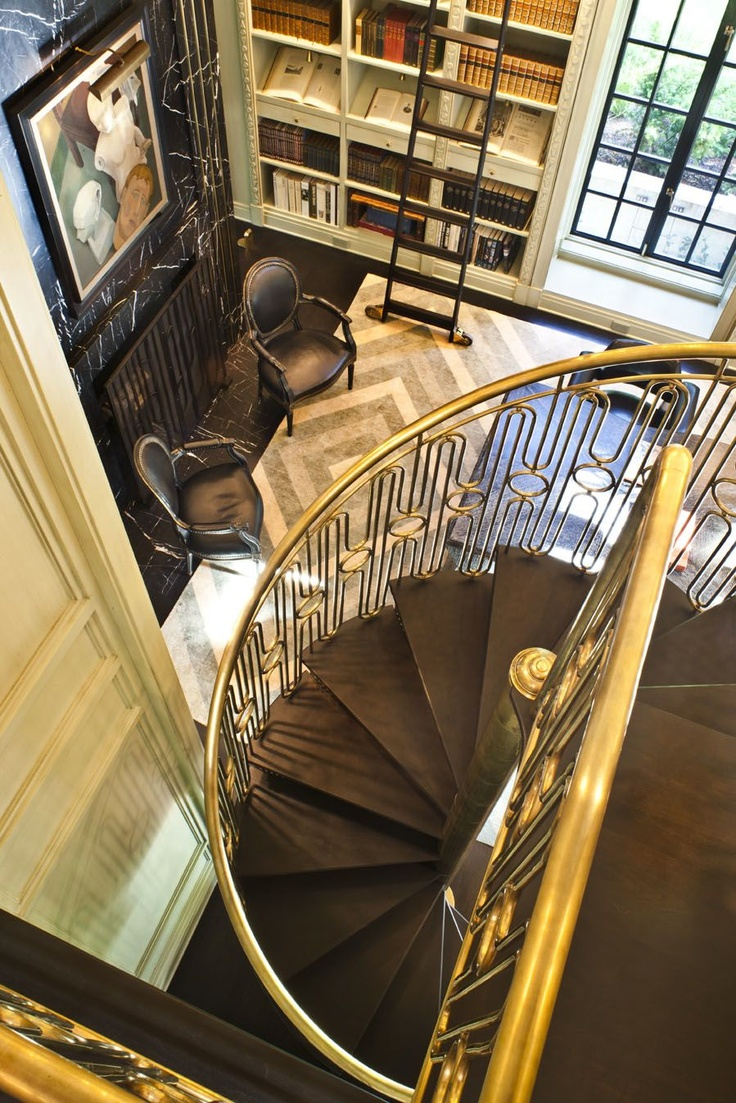 Custom circular staircase by Kelly Wearstler