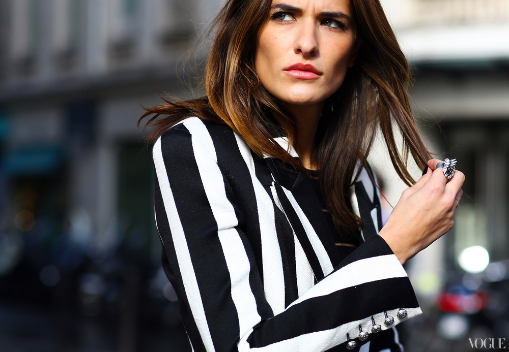 Black and white striped blazer on the streets of Paris Fashion Week. Image: Phil Oh