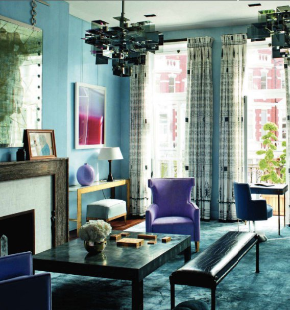 blue and lavender living room