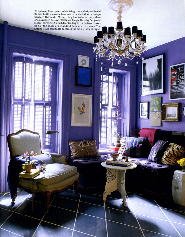 Purple Living Room, David Kaihoi House Beautiful