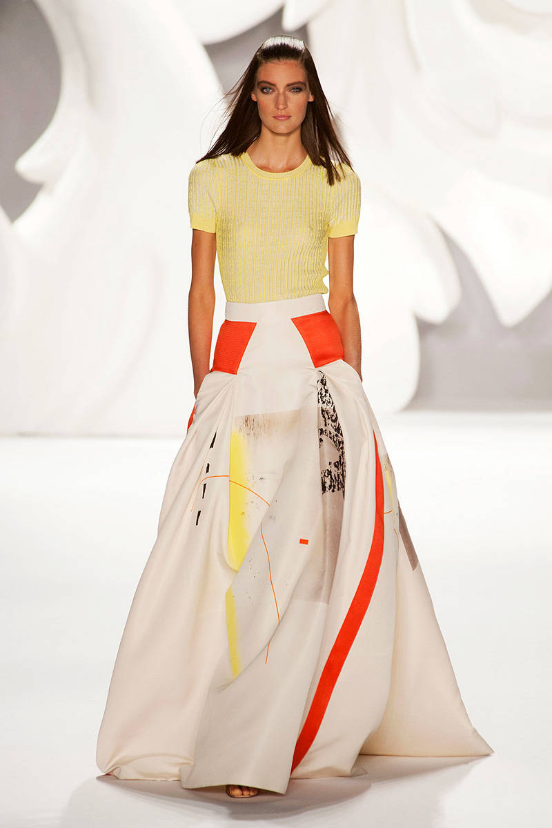 Carolina Herrera Modern Art Print Ball Skirt
