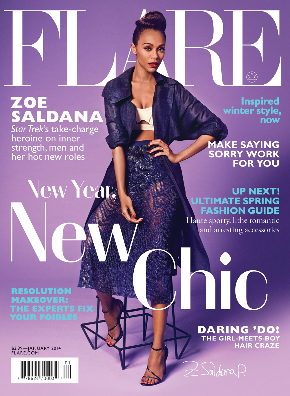 Zoe Saldana covers January issue of Flare