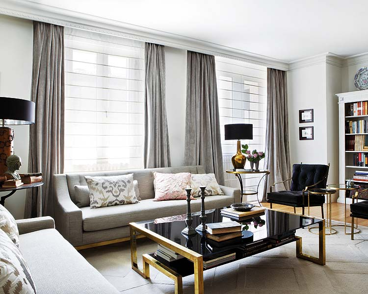 Interiors An Elegant Living Room In Black Gray And Gold Sukio