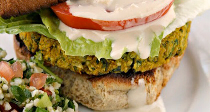 Falafel Burger - with Tzatziki Sauce (Sub Hummus to make it