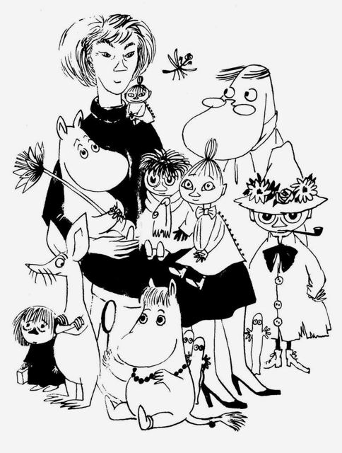 Tove Jansson's sketch of herself with the cast of Moomins characters she created.