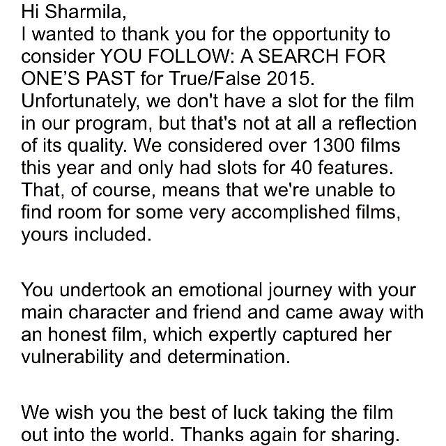 The best rejection letter we ever received!! #documentary #film #womeninfilm #femaledirector #femaleeditor #femaleproducer #india #indianwomen #films #rejectionletter #grownasswomen #adoption #adoptee #search #transracialadoptee #youfollowthefilm #flipthescript #filmfestivals #dreams #passionproject #goa #travel  (at Los Angeles, CA)