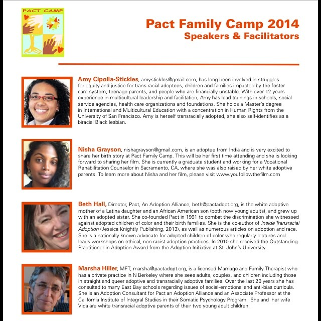 I am grateful that Pact An Adoption Alliance has asked us to screen our film at their annual family camp where they host families with adoptive children. Pact also asked if I would be a speaker to help bring awareness about the life of an adult adoptee to adoptive parents. I cannot wait! #youfollowthefilm