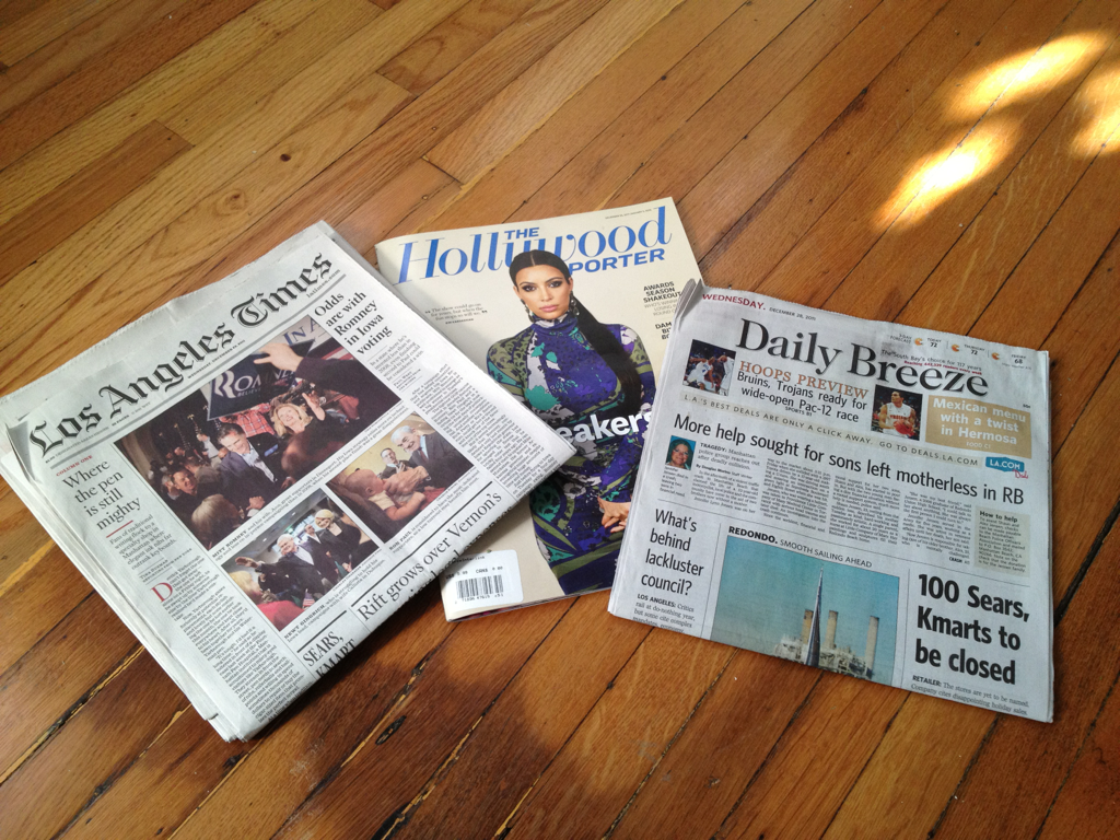 We're getting our Kickstarter page together and I'm doing the press release! So this morning I picked up some newspapers and magazines for the purpose of gathering inspiration.    What a fun gig.    – Obi