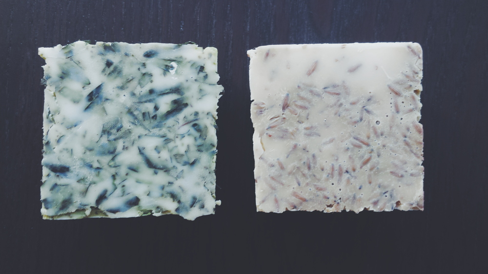 (Left) Refreshing Myrtle Soap; (Right) Soothing & Moisturizing Lavender Oatmeal Soap