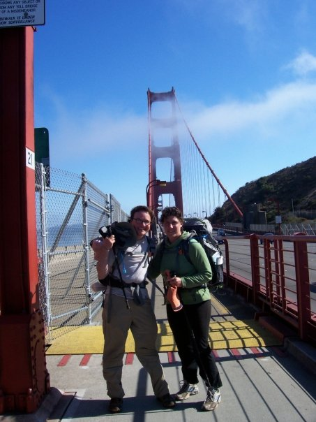 About to cross the Golden Gate Bridge with Elise after a 110 mile hike down the California Coast.