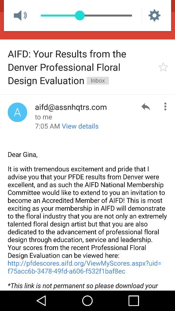 THE BEST EMAIL EVER!!! I am to be inducted to AIFD in July 2016.