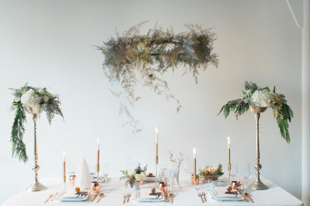 Holiday tablescape by From the Ground Up Floral  Photo: Blue Rose Photography Tablescape and planning: Simply By Tamara Nicole