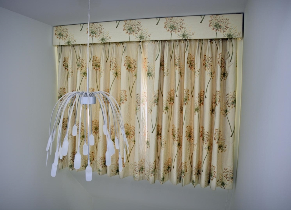 Short curtains with dandelion print fabric and matching pelmet
